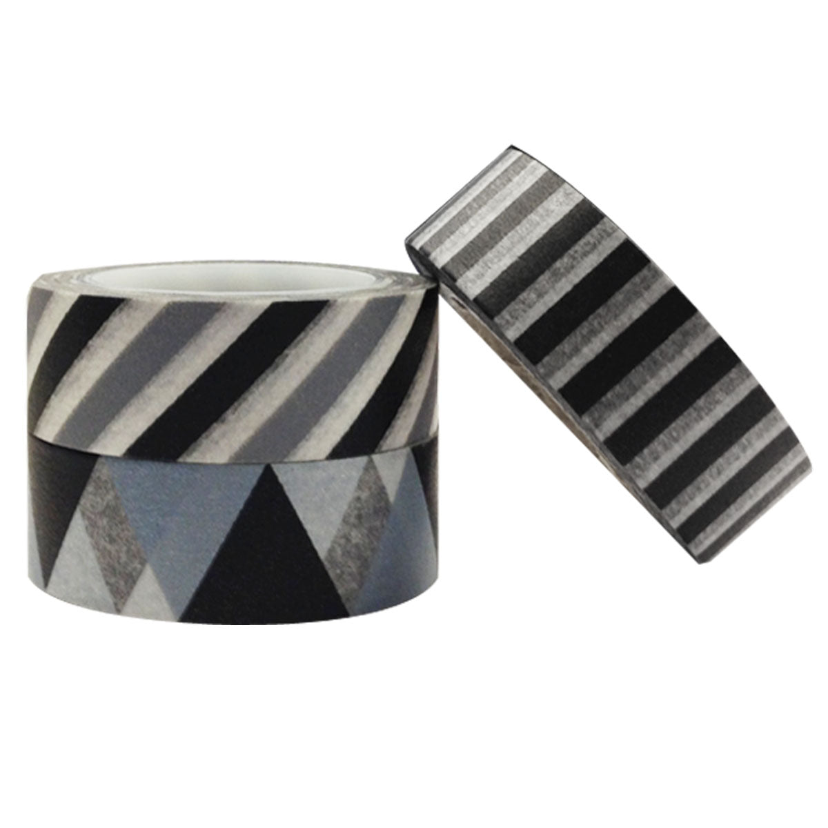 Wrapables Grey & Black Washi Masking Tape (set of 3)