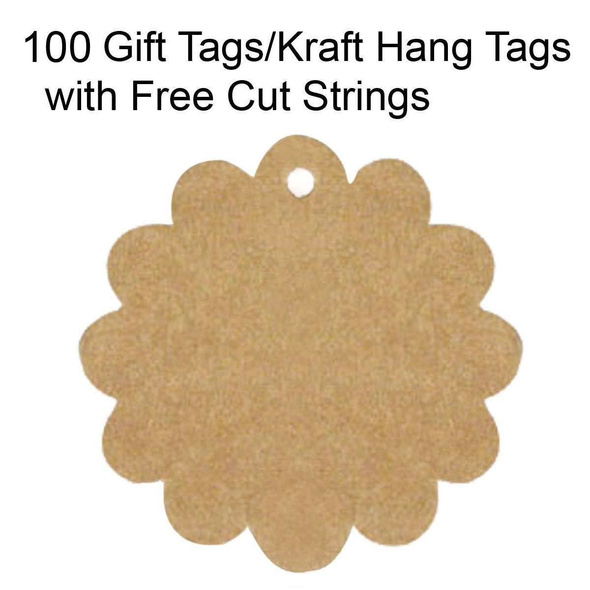 Wrapables 100 Gift Tags/Kraft Hang Tags with Free Cut Strings - Flower
