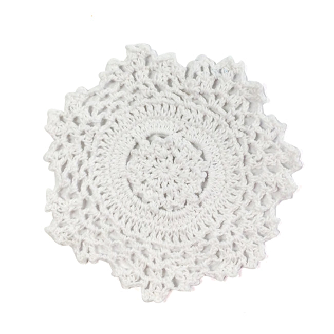 Wrapables? Small White Round Crochet Cotton Doily Placemat, Set of 4