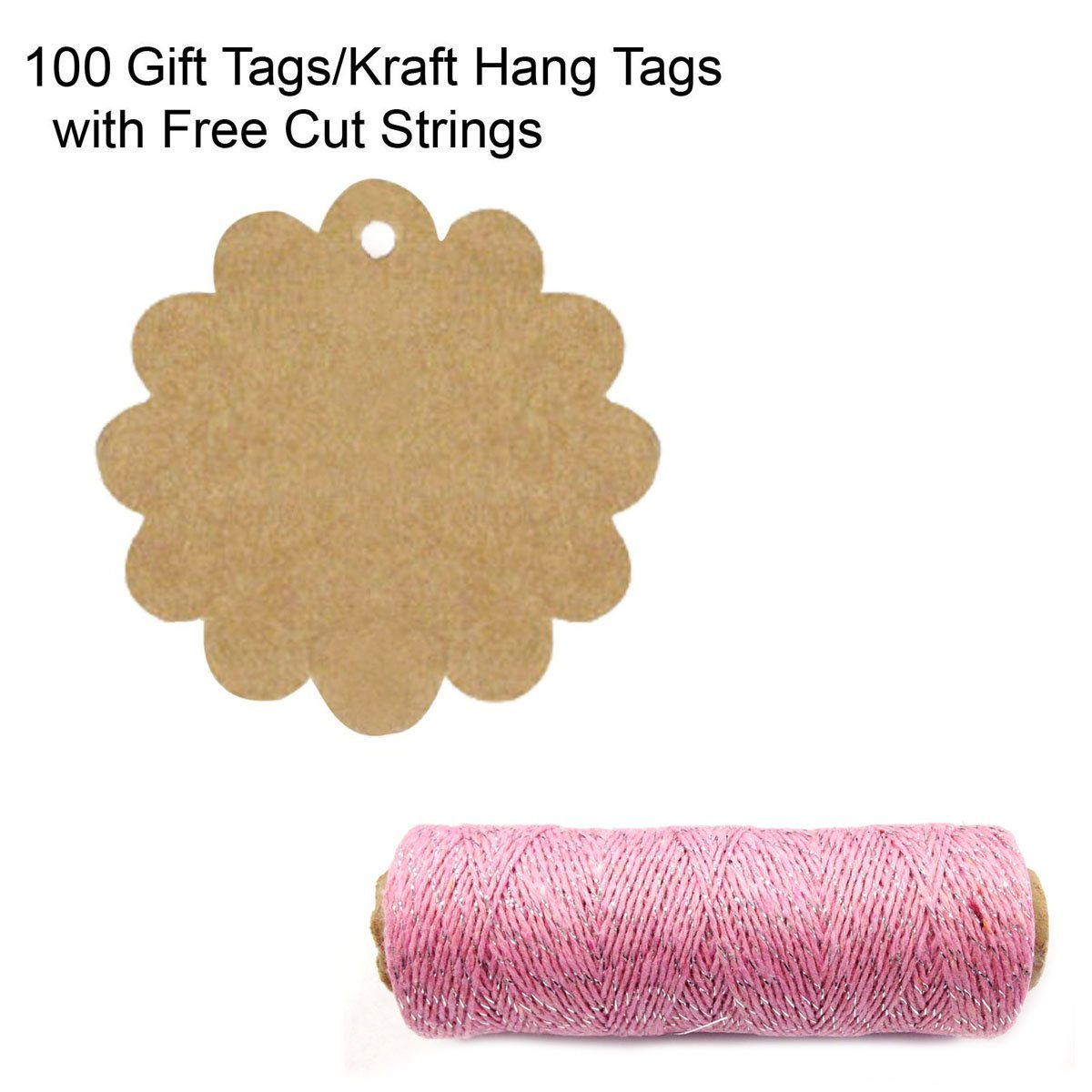 Wrapables 100 Flower Gift Tags/Kraft Hang Tags with Free Cut Strings + Cotton Baker's Twine 4ply 110 Yard, Pink/Metallic Silver