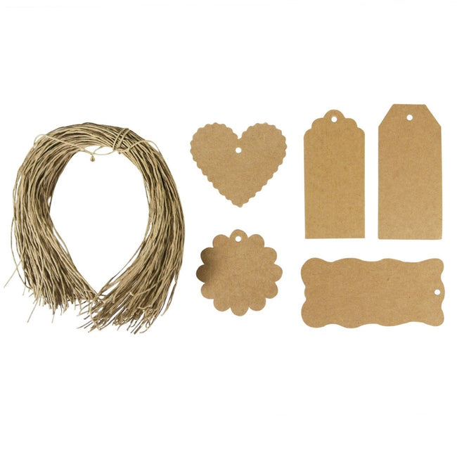 Wrapables 100 Brown Gift Tags with Free Cut String + Cotton Baker's Twine 12ply 110 Yard, White/Gold Metallic