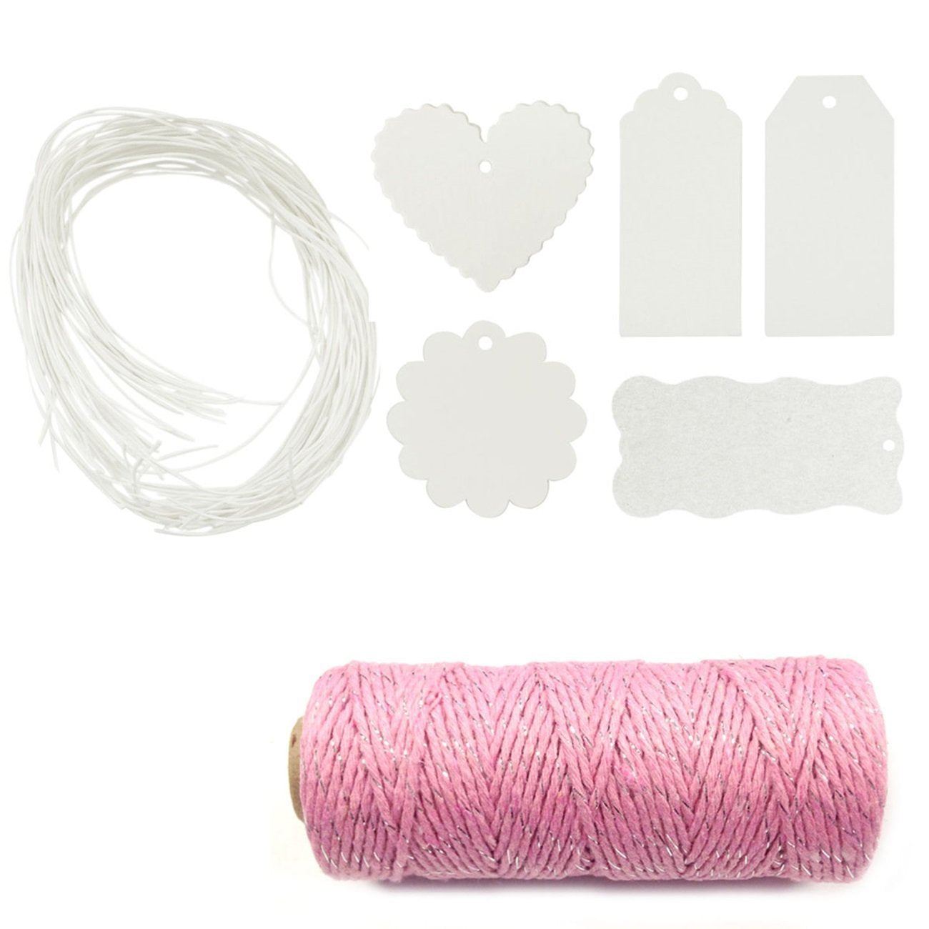Wrapables 100 White Gift Tags with Free Cut String + Cotton Baker's Twine 12ply 110 Yard, Pink/Metallic Silver