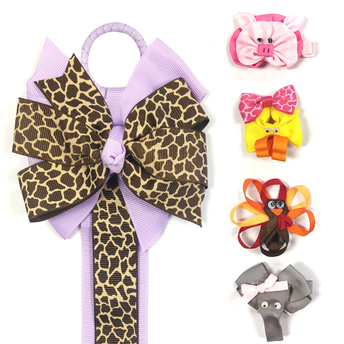 Wrapables Duck, Turkey, Elephant, Pig Ribbon Sculpture Hair Clips with Leopard Hair Clip / Hair Bow Holder