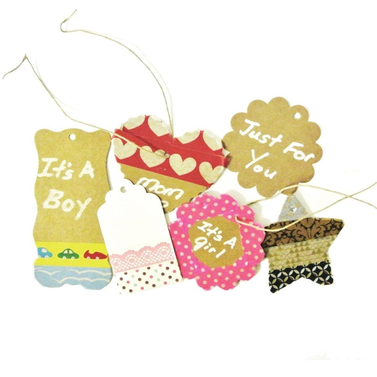 Wrapables 10 Gift Tags/Kraft Scalloped Edge Hang Tags with Free Cut Strings, Small, White