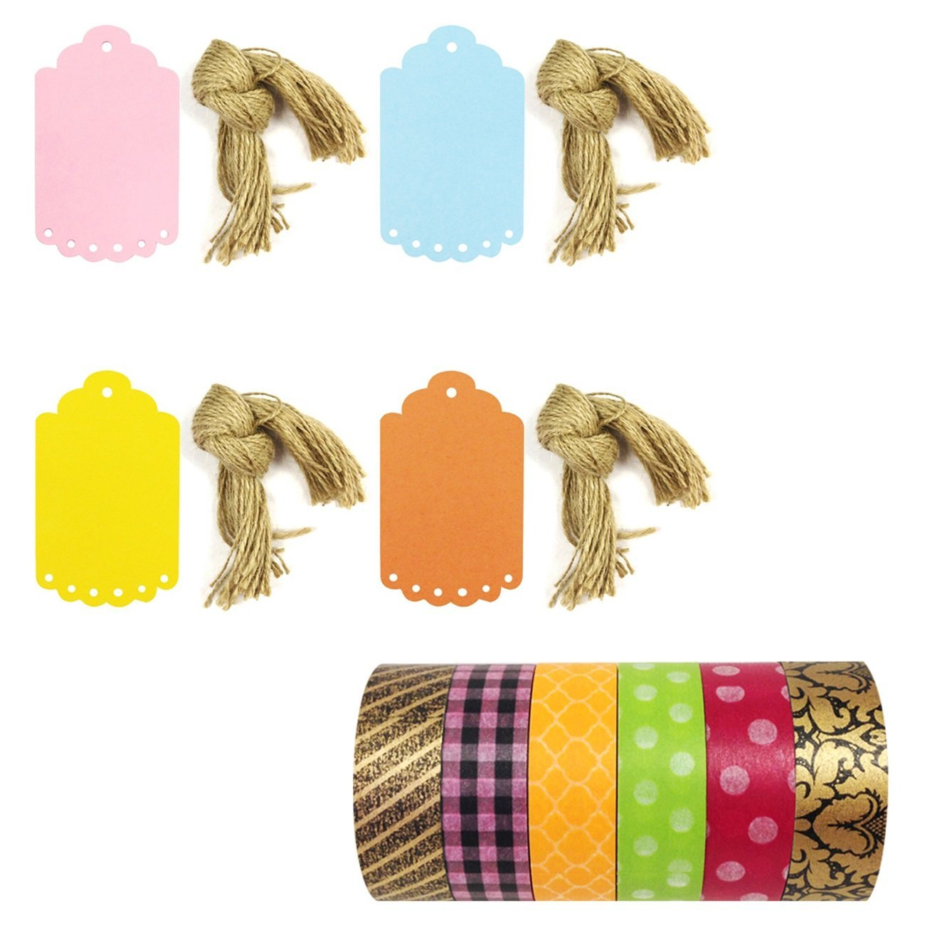 Wrapables Set of 6 Washi Tape + 40 Large Scalloped Multi-Color Gift Tags with Cut Strings