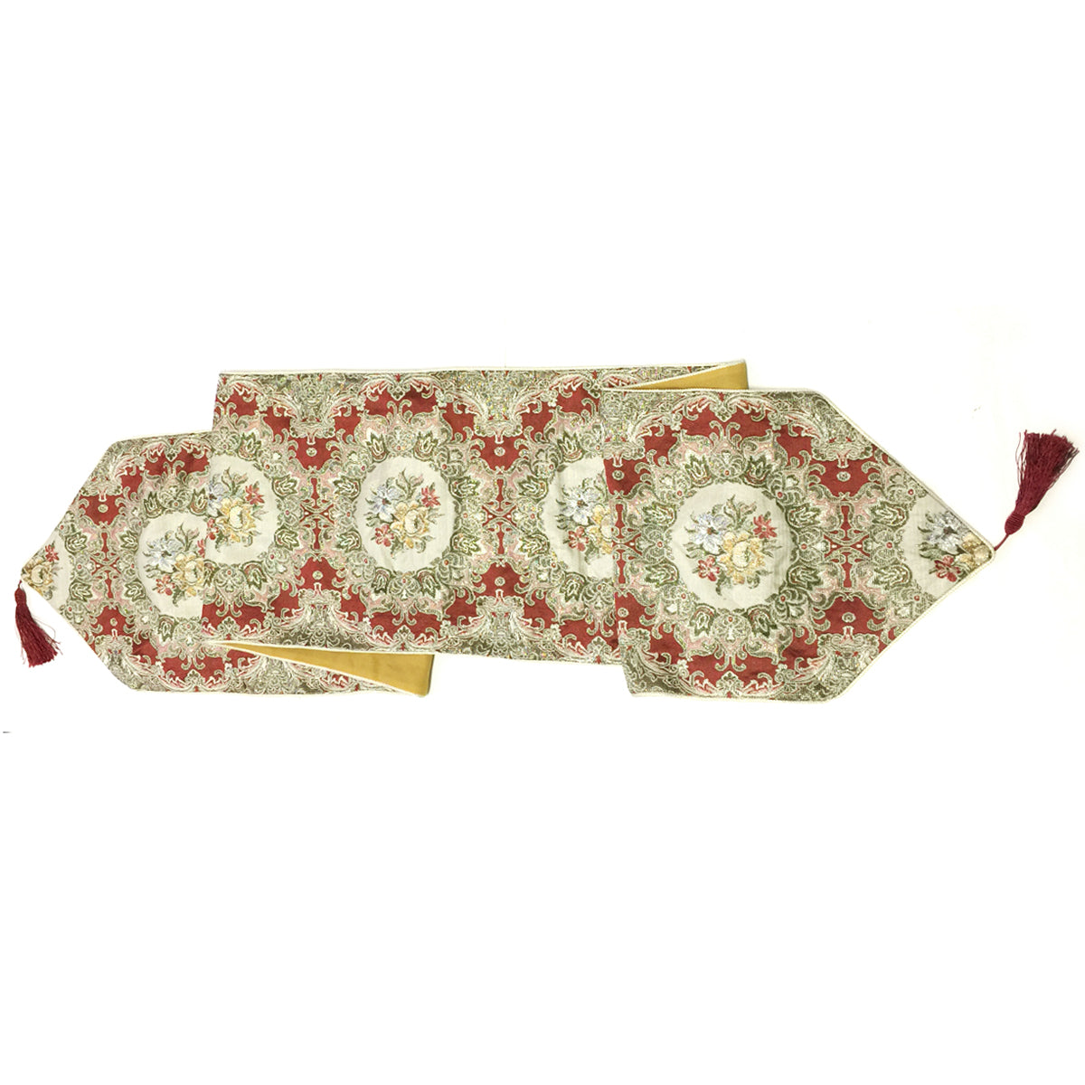 Wrapables 86 x 13.5 Inch Vintage Old World Table Runner with Gold Embroidery and Tassels, Imperial Gold