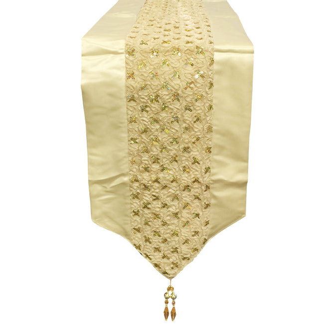 Wrapables 94 x 12 Inch Champagne Sequined Table Runner with Tassels