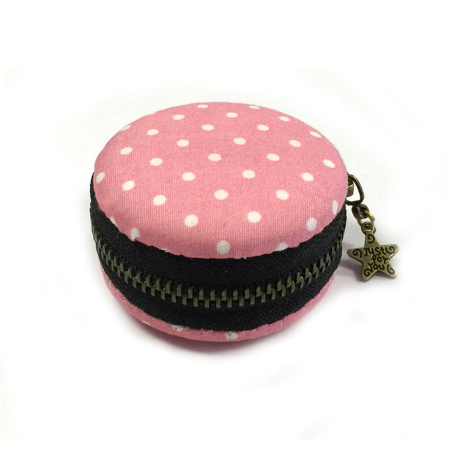 Wrapables Macaroon Coin Purse Trinket Box Jewelry Pouch, Indigo Blue Polka Dot