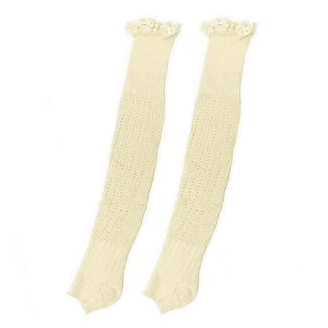Wrapables Knitted Leg Warmers Boot Socks with Lace Trim