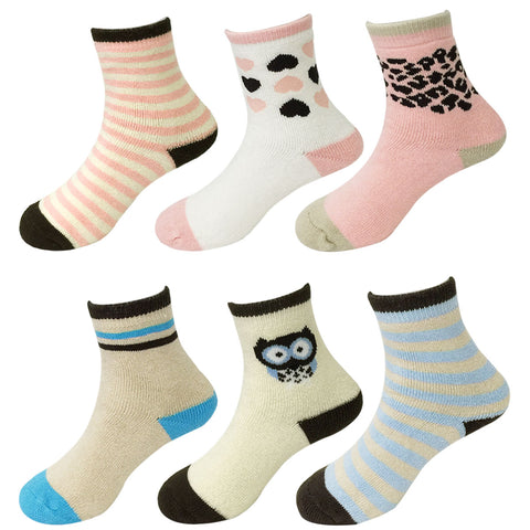 Wrapables Girls Cheerful Casual Socks (Set of 6), Set 1