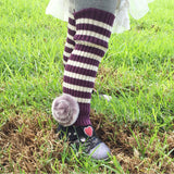 Wrapables Children's Striped Leg Warmers with Pom Pom