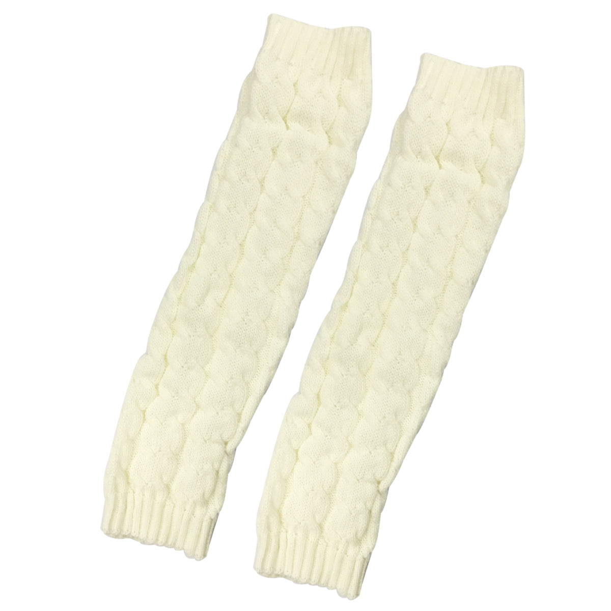 Wrapables Ribbed Cable Knit Leg Warmers for Women, Light Gray