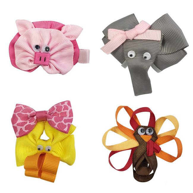 Wrapables Duck, Turkey, Elephant, Pig Ribbon Sculpture Hair Clips Set
