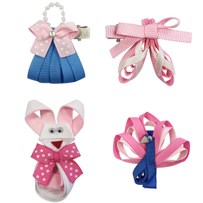 Wrapables Peacock, Bunny, Purse, Ballet Shoes Ribbon Sculpture Hair Clips Set