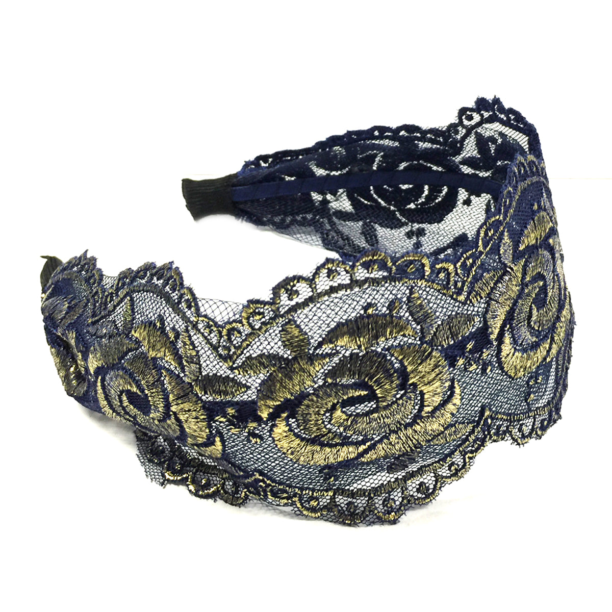 Wrapables Elegant Lace Headband with Gold Tone Threading