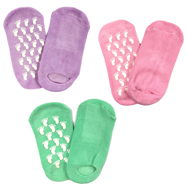 Wrapables Women Ankle Length Non-Skid Gripper Socks (Set of 3), Lavender, Hot Pink, Mint