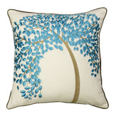 Wrapables Decorative Vibrant Tree Embroidery Throw Pillow Cover with Piping