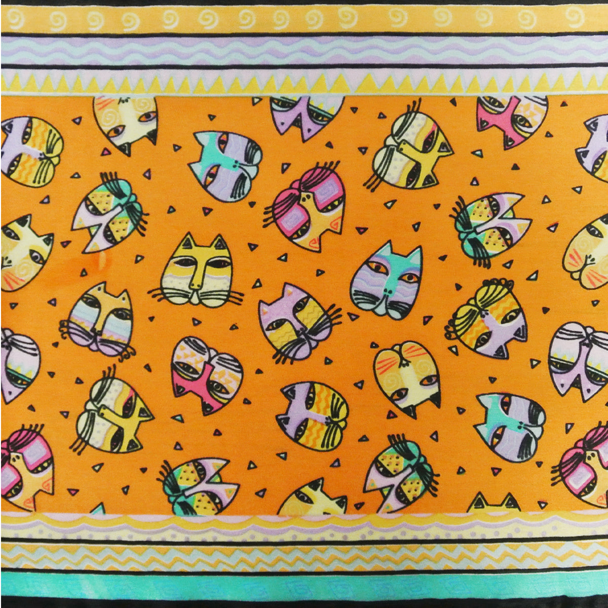 "Wrapables Vibrant 100% Silk Long Scarf 51"" x 10.5"", Cat Faces, Orange"