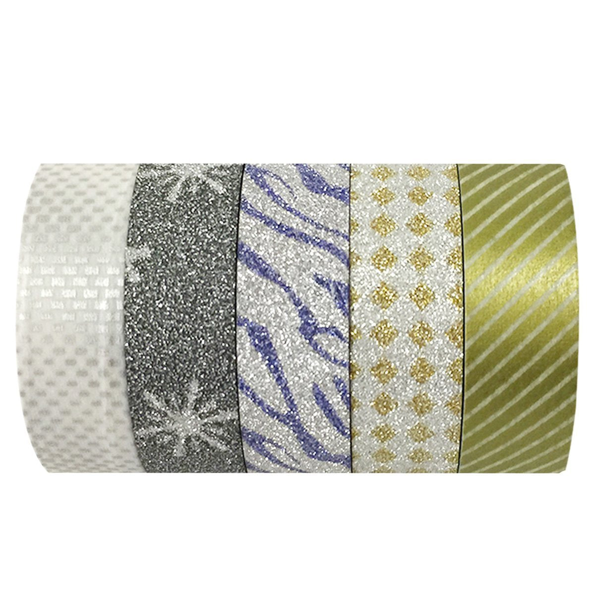 Wrapables Silver and Gold Washi Tapes Masking Tapes, Set of 5