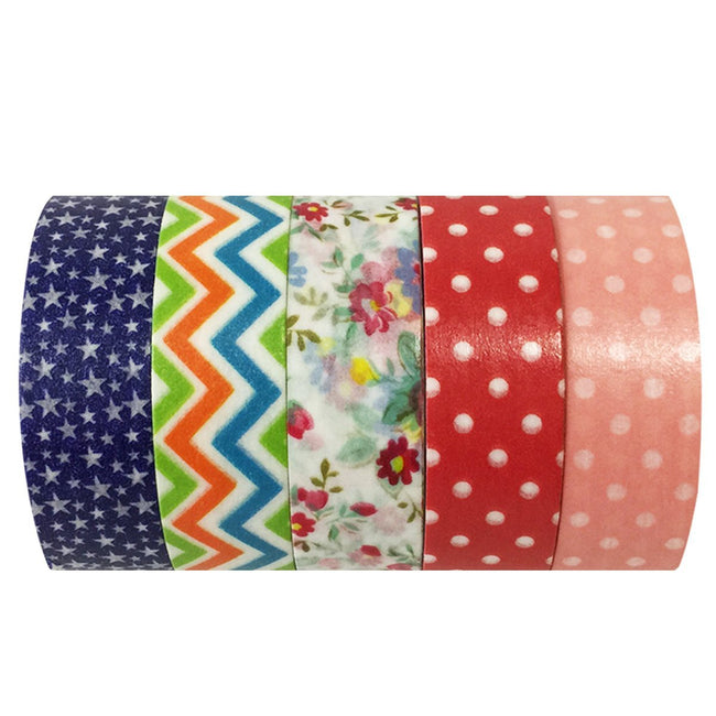 Wrapables Picnic Fun Washi Tapes Masking Tapes, Set of 5