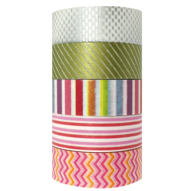Wrapables Punch Bowl Magic Washi Tapes Masking Tapes, Set of 5