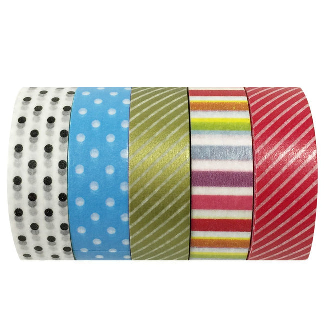 Wrapables Dots and Slants Washi Tapes Masking Tapes, Set of 5
