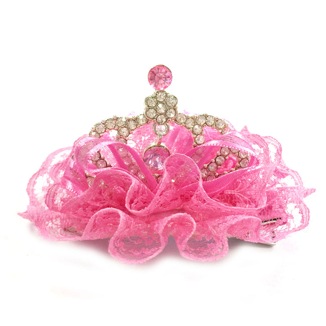 Wrapables Lace and Rhinestones Princess Tiara Crown Hair Clip for Baby Girls