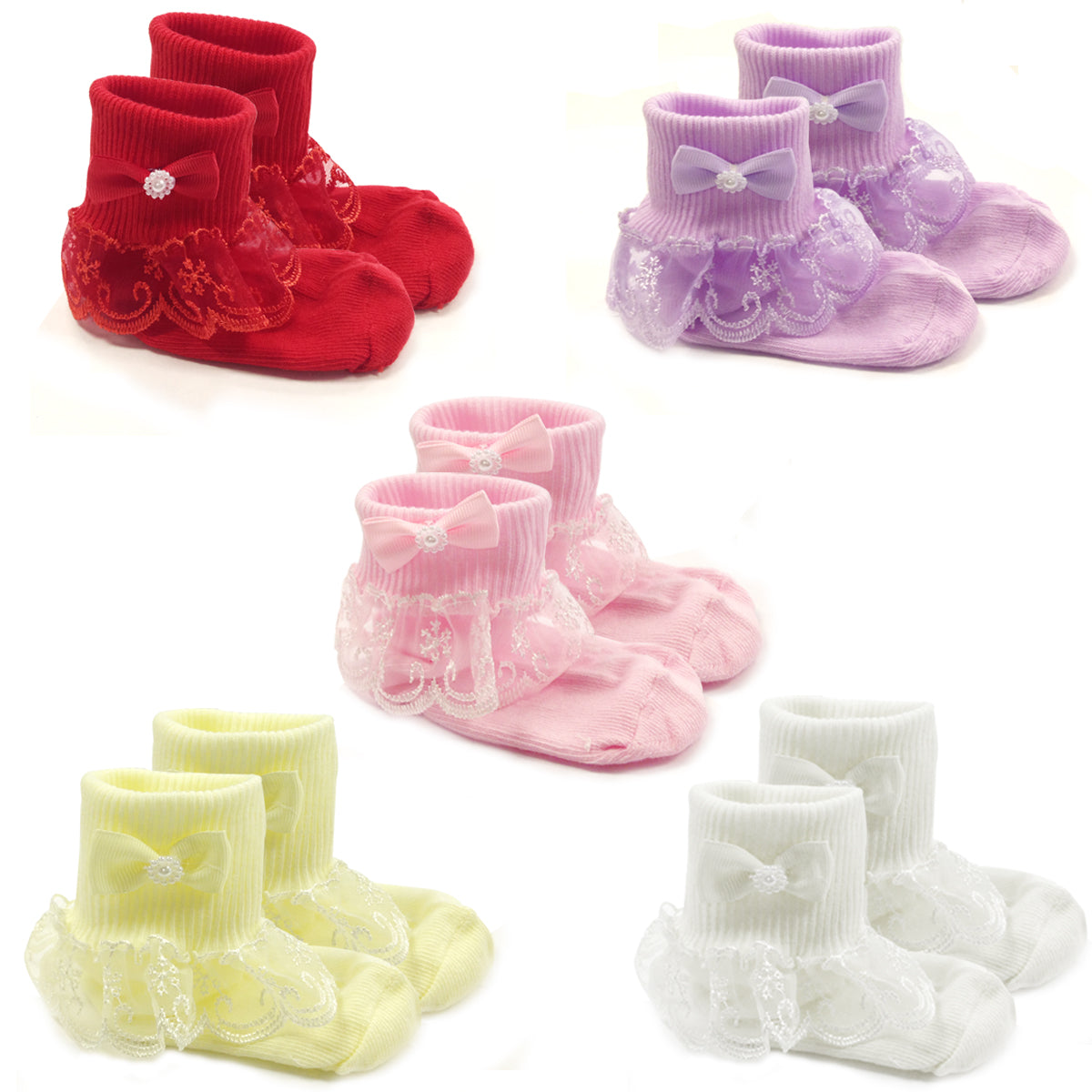 Wrapables Snowy Lace Ruffle Cuff Socks for Toddler Girl (Size 4-6), Set of 5