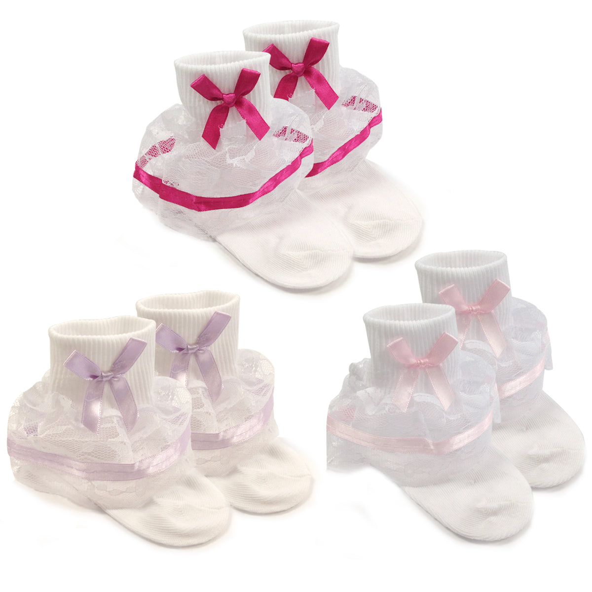 Wrapables Lil Miss Bella Lace & Ribbon Ruffle Socks for Toddler Girl, Set of 3 (Size 4-6)