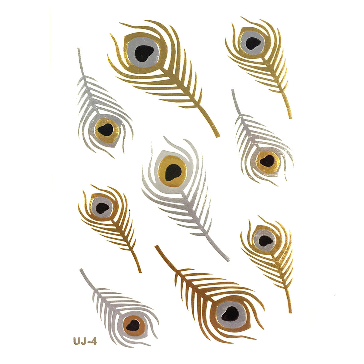 Wrapables Large Metallic Gold and Silver Temporary Tattoo Stickers