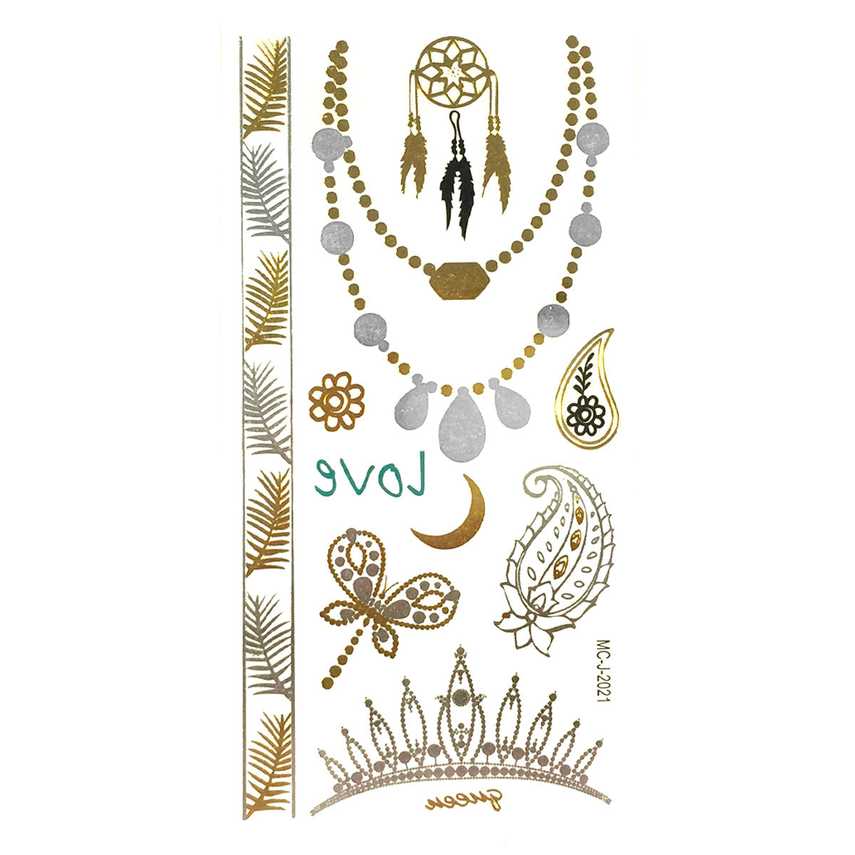 Wrapables Medium Metallic Gold and Silver Temporary Tattoo Stickers