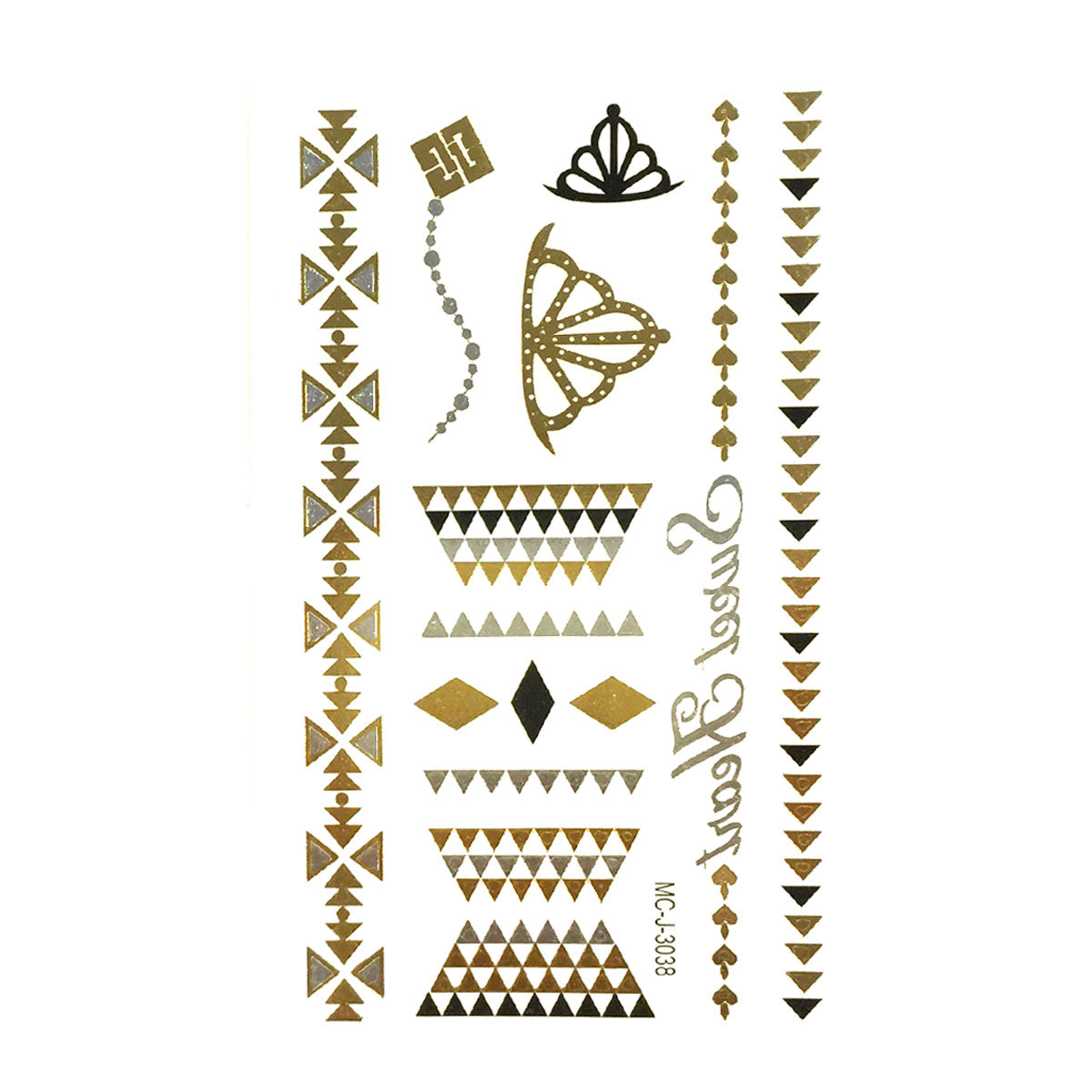 Wrapables Small Metallic Gold and Silver Temporary Tattoo Stickers