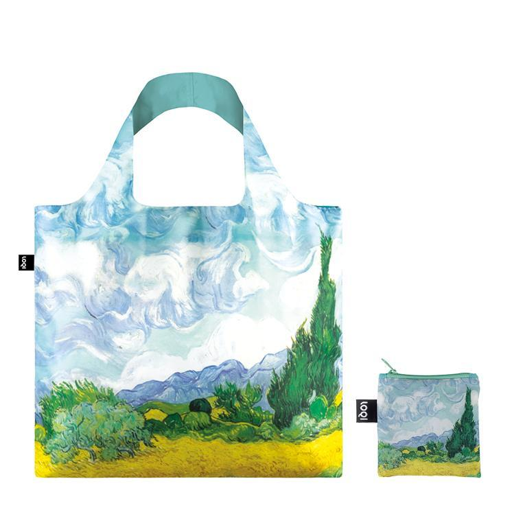 LOQI Museum Reusable Bags with Zip Pocket, Set of 3, Starry Night, Wheat Fields, Chinese Décor