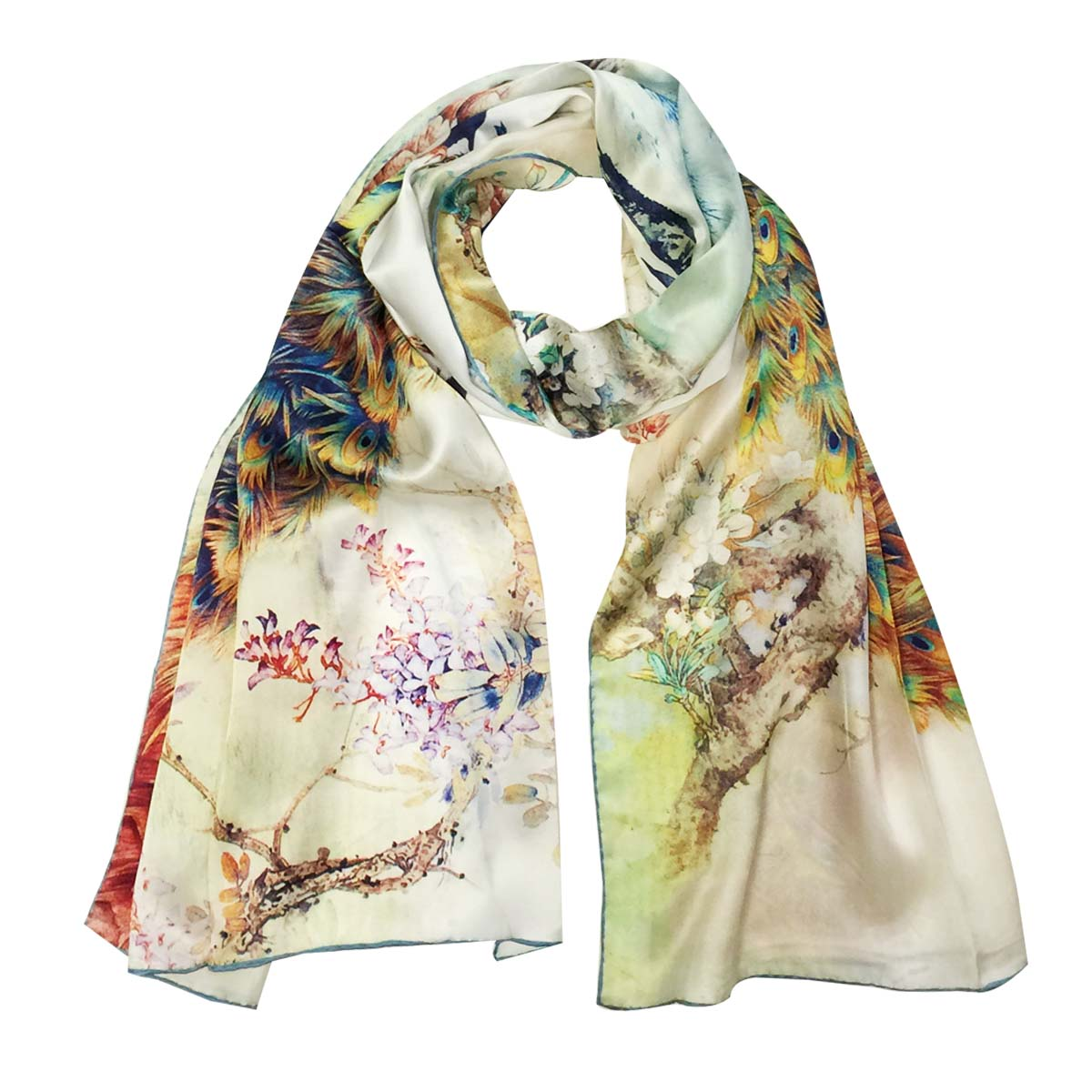 Ivory Long Wide Oversized Scarf Wrap Swallow Crane Floral Lightweight Shawl New
