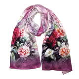 Wrapables Luxurious 100% Charmeuse Silk Long Scarf with Hand Rolled Edges