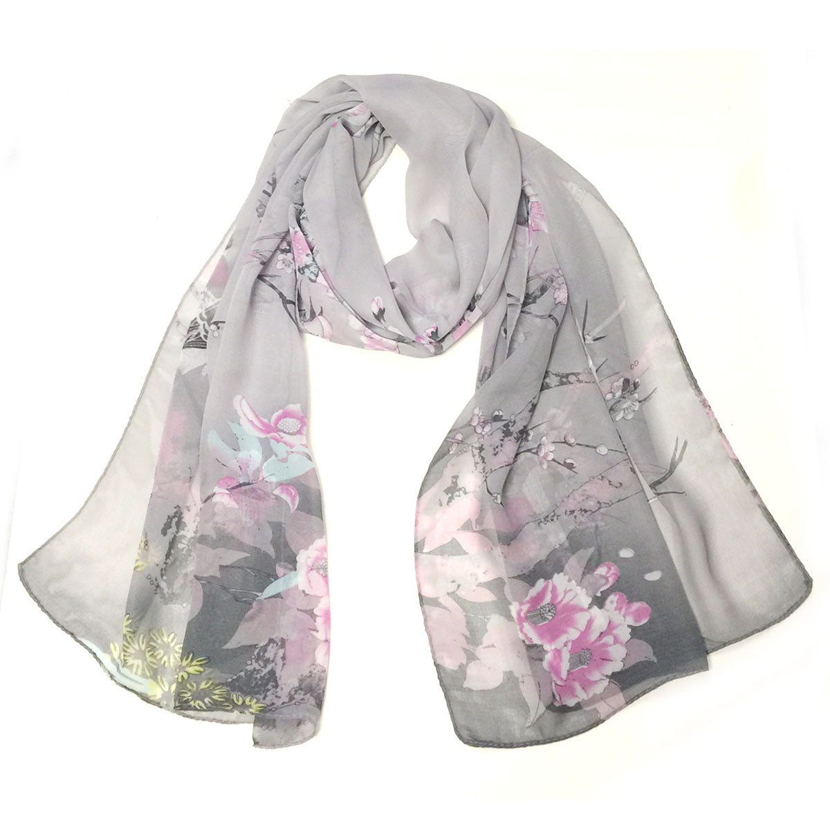 Wrapables Floral Bird Print Polyester and Silk Oblong Scarf, Twilight Dusk