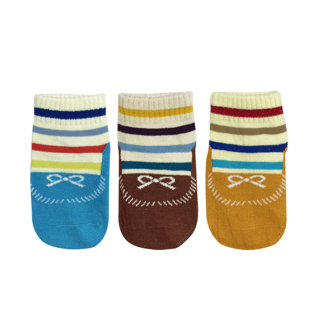 Wrapables Anti Slip Striped Loafer Socks for Babies (Set of 3)