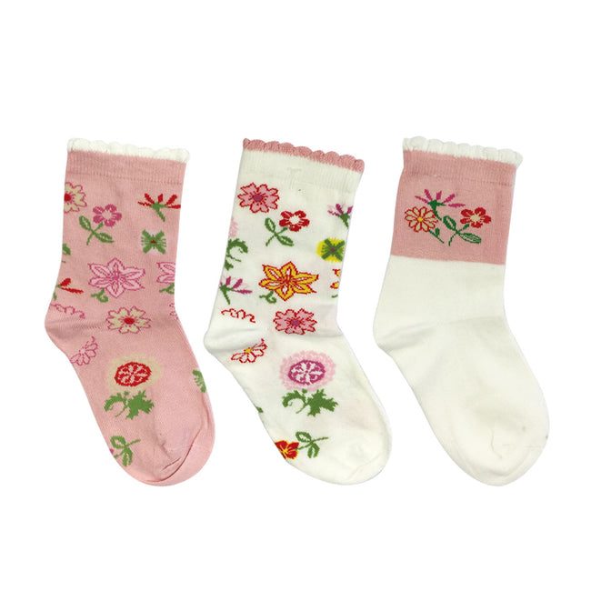 Wrapables Pink Flower Girl Socks for Baby (Set of 3)
