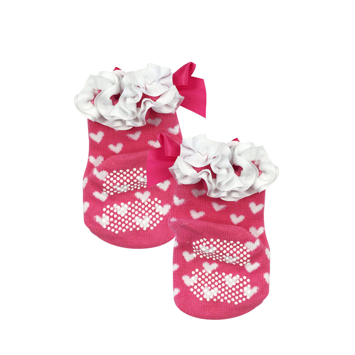 Wrapables Non-Skid Sweetheart Bows and Ruffles Socks (Set of 2)