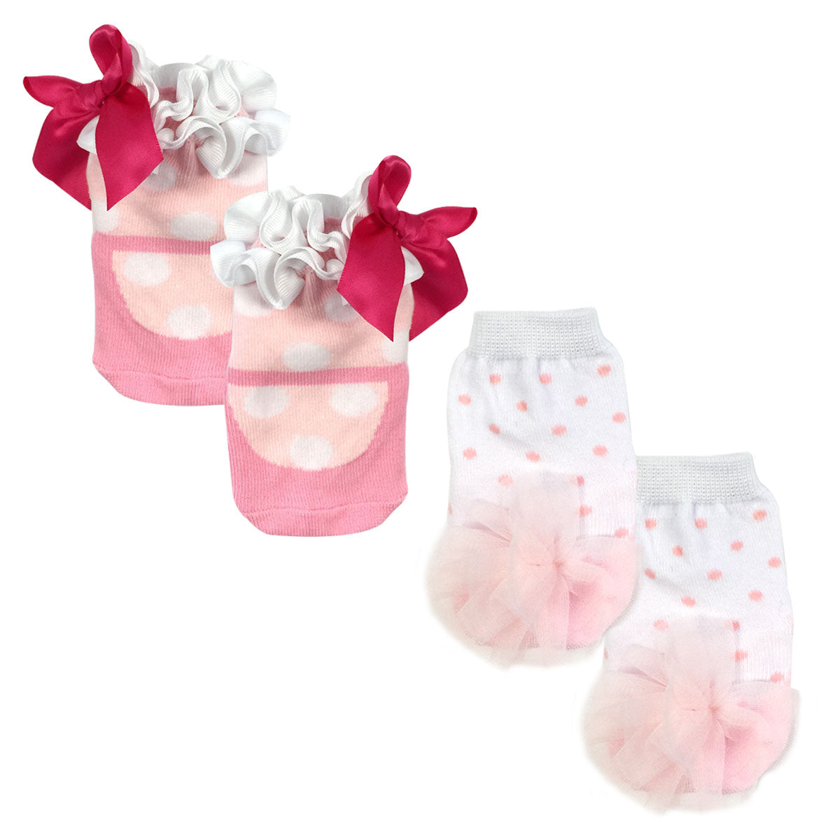 Wrapables Dottie Dot Non-Slip Ballet and Mary Jane Socks (Set of 2)