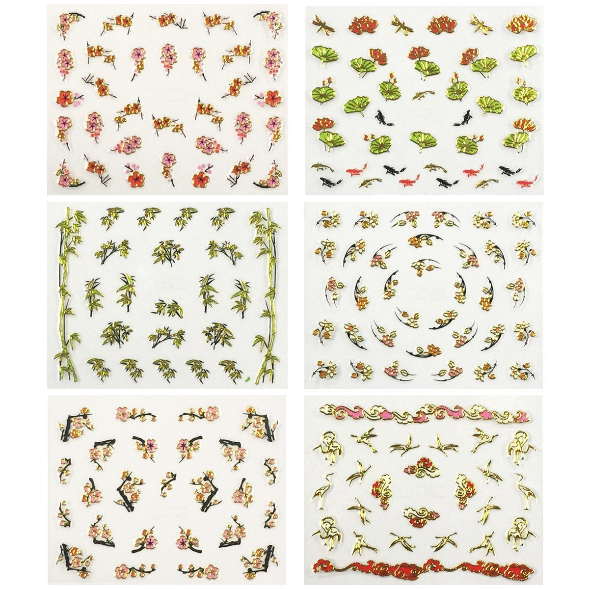 Wrapables Asian Inspired Nail Art Self-Adhesive Stickers Nail Decals, Set of 6