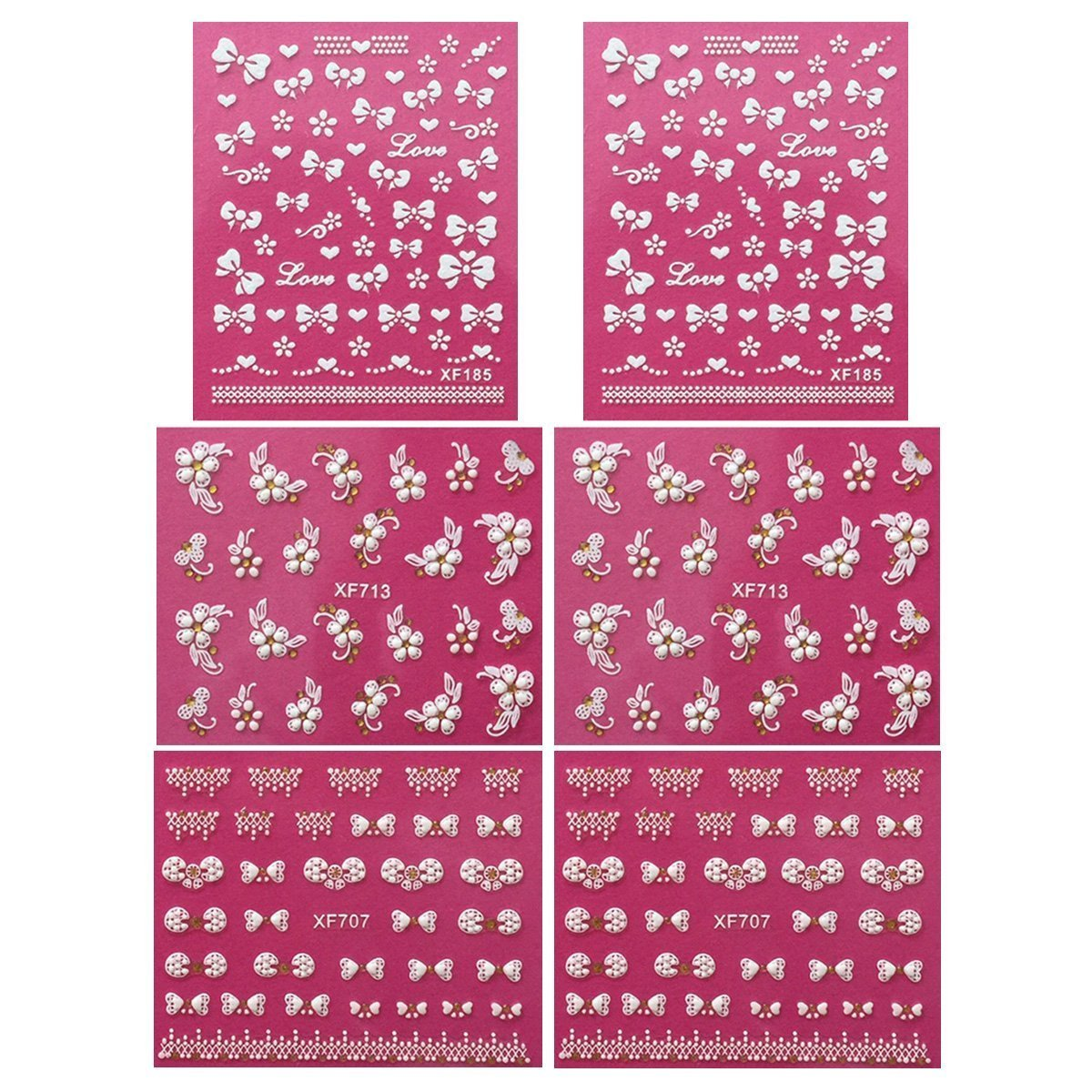 Wrapables Fingernail Stickers Nail Art Nail Stickers Self-Adhesive Nail Stickers 3D Nail Decals - Bows, Hearts & Flowers (3 designs/6 sheets)