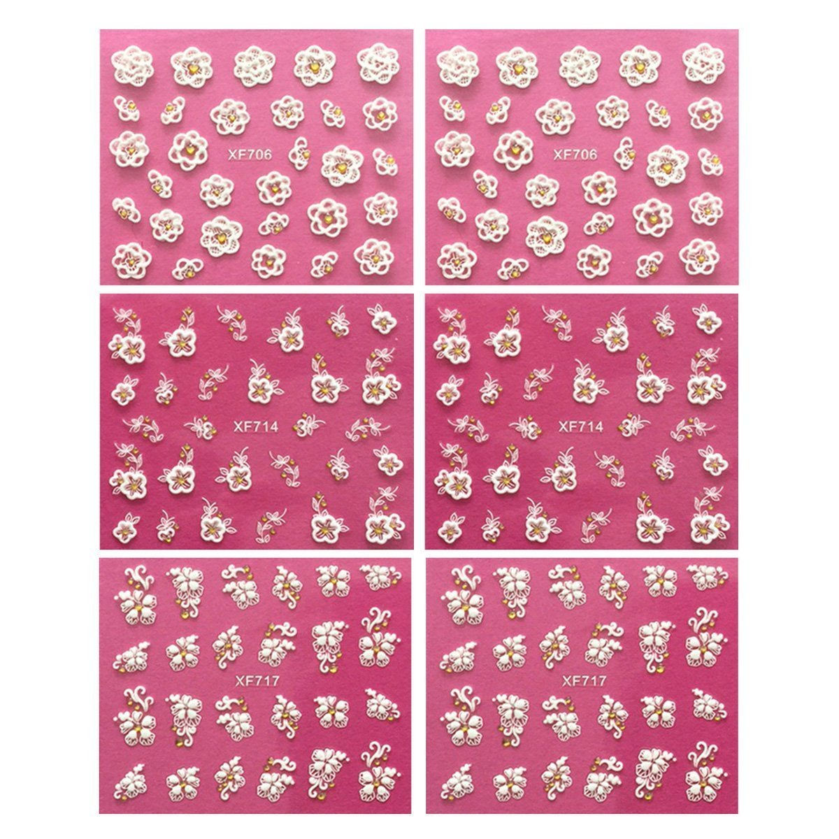Wrapables Flowers with Gold Embellishment Nail Art Self-Adhesive Stickers Nail Decals, Set of 6
