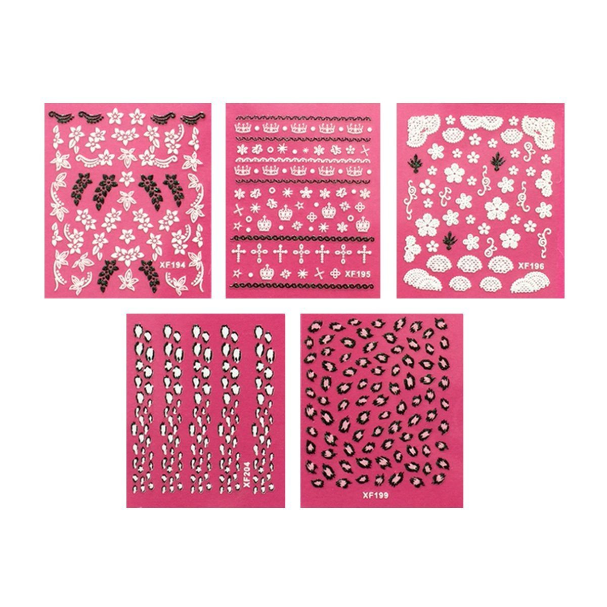 Wrapables Leopard Print, Floral, Crowns and Crosses Nail Art Self-Adhesive Stickers Nail Decals, Set of 5