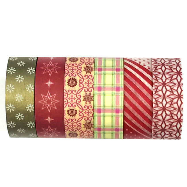 Wrapables Washi Tapes Decorative Masking Tapes, Set of 6