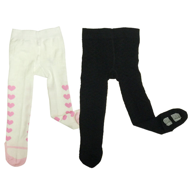 Wrapables Warm Non-Skid Tights for Toddlers (Set of 2), Mary Janes & Diamonds