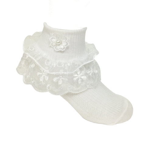 Wrapables Lil Miss Daisy Double Layer Lace Ruffle Socks (Size 1-3), Set of 2
