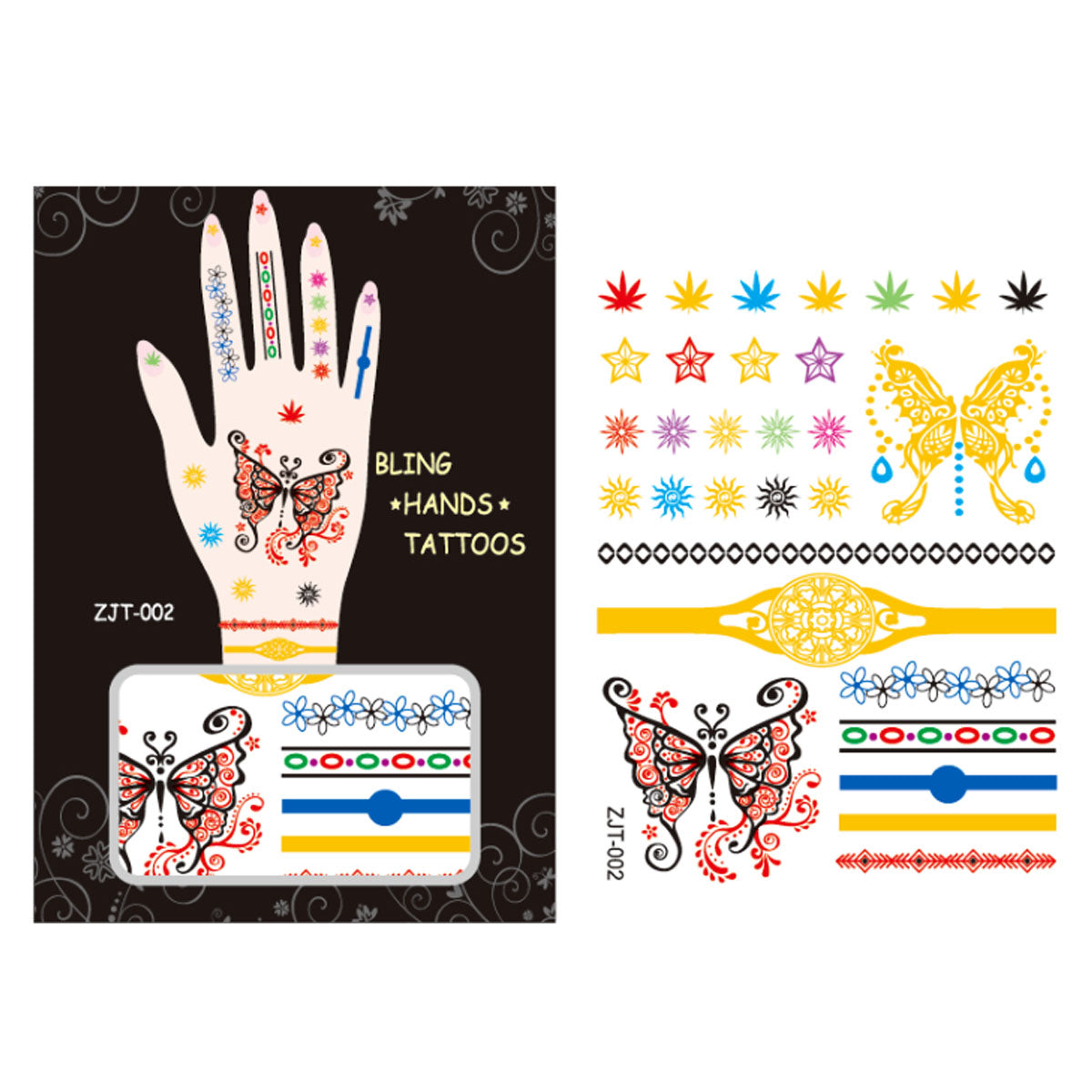 Wrapables Trendy Temporary Metallic Hand Tattoos