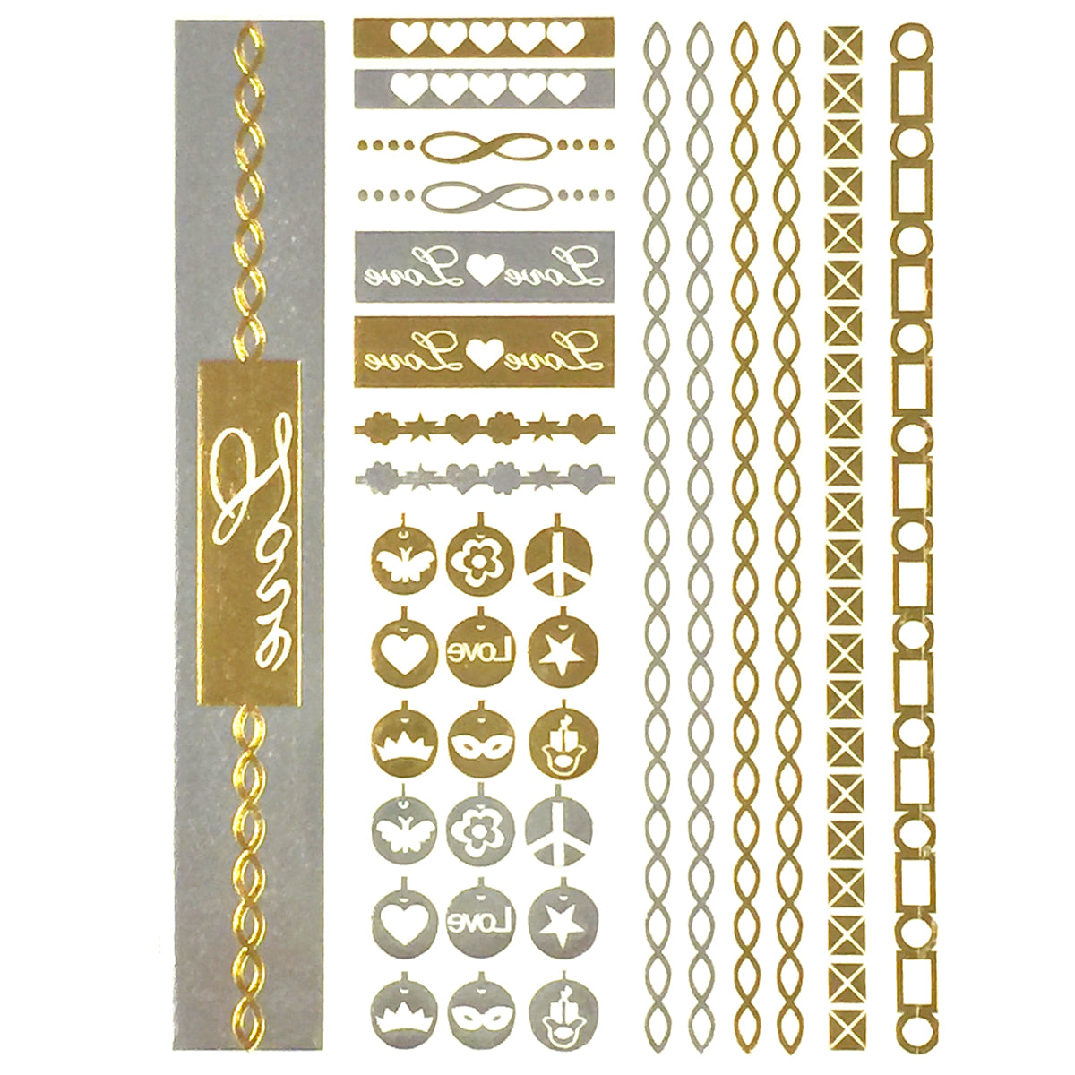 Wrapables Celebrity Inspired Temporary Tattoos in Metallic Gold Silver and Black