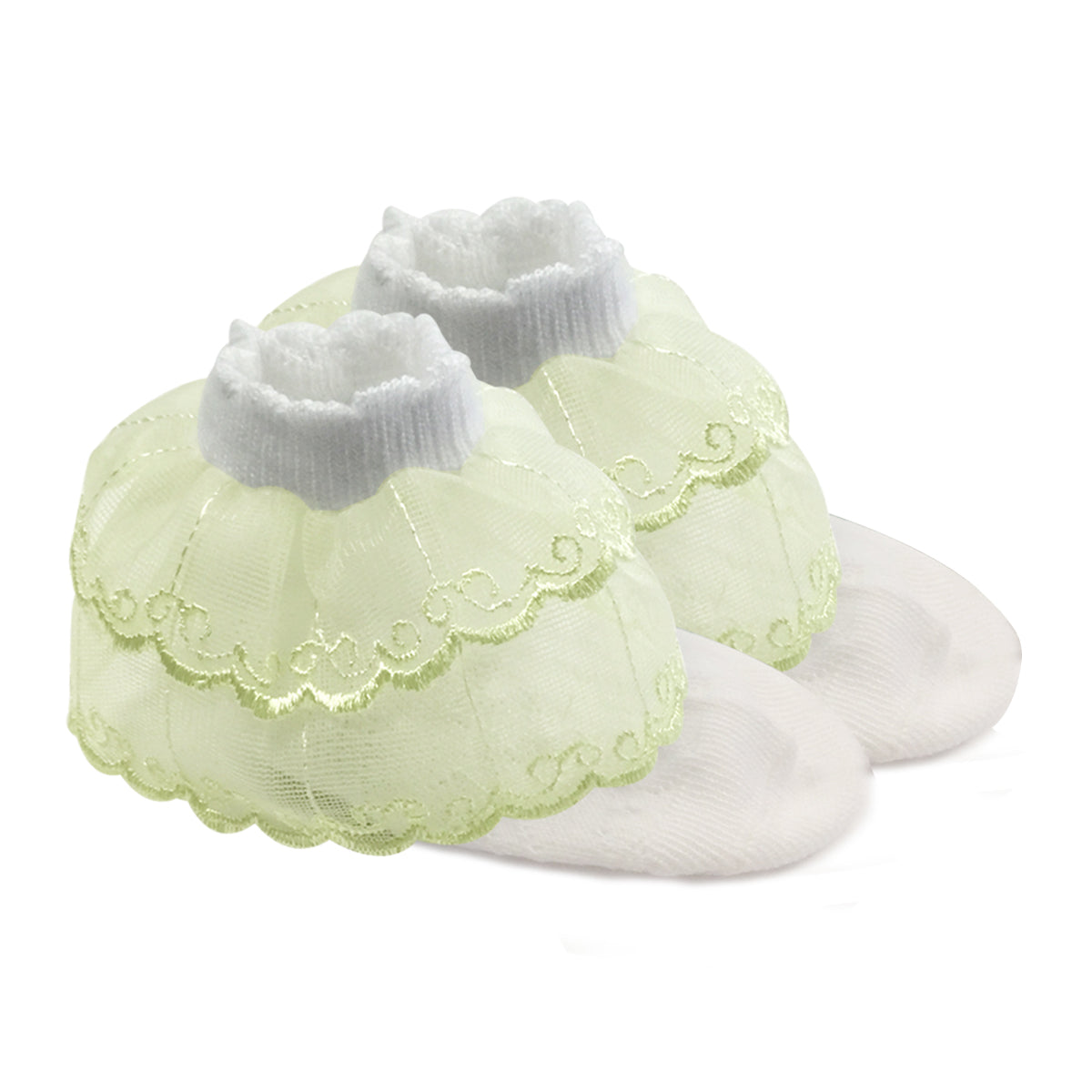 Wrapables Lil Miss Emily Double Layer Lace Ruffle Socks Set of 2, Green